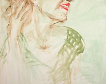 Large oil painting impressionist woman portrait