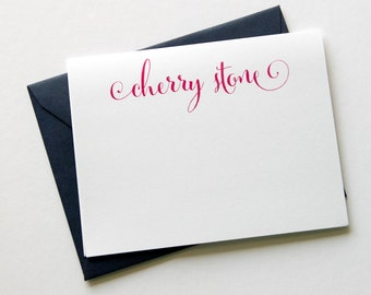 Name Note Cards with Envelopes - 12pk, Personalized Flat Note Cards with Envelopes (NC-019)