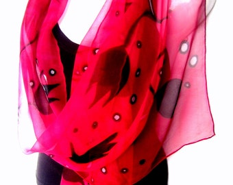 Red Silk Scarf Handpainted, Hand Painted Silk Scarf, Red Black Tulips, Floral, Silk Chiffon Scarf, Gift For Her, Genuine Handmade