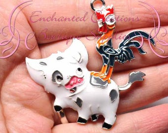 """2""""  White and Grey Pig with Rooster Pendant, Keychain, Bookmark, Zipper Pull, Jewelry, Animal Jewelry, Bubblegum Jewelry, Planner Charm"""
