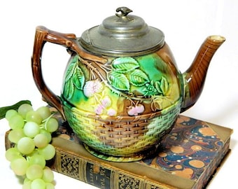 Antique Majolica Teapot with Pewter Lid Basketweave and Berry Pattern