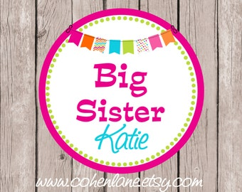 Printable Personalized Big Sister Iron On Tshirt Transfer Design.  Sibling Iron On Transfer. Big Sister Transfer.  Big Sister Shirt.