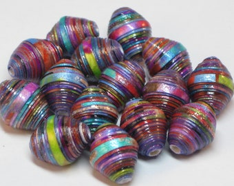 Paper beads- Recycled paper beads- Loose paper beads- Beading supplies- Jewelry Supplies- Up-cycled- Bi-cone beads- metallic color beads