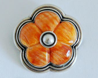 Vintage 950 silver banded orange agate abstract flower brooch, handsome striking apricot agate fine silver artisan made raised woodland pin