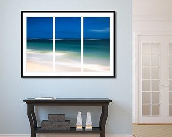 Framed Navy Blue Ocean Abstract Art Lustre Print, Beach Decor, Nautical Wall Art, Navy Blue Aqua white wall decor, Ocean Framed wall print