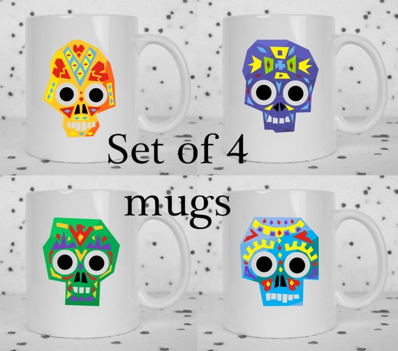 Set of 4 abstract sugar skull coffee mugs