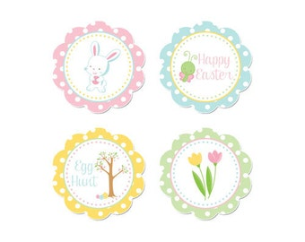 50% OFF SALE - PRINTABLE Easter Party Circles - Instant Download