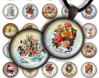 75% OFF SALE Cups of Flowers - Digital Collage Sheet PC048 1inch round 1inch circle 30 mm 25 mm Pendant Printable Image Jewelry Making