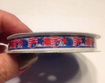 9 feet Patriotic ribbon, 3 / 8 inch wide (A15)