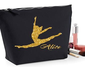 Personalised glitter gymnastics make up travel wash bag pencil case