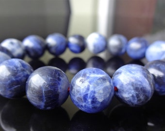 Genuine Blue Sodalite Bead Bracelet for Men or Women (On Red Stretch) 12mm - AAA Quality