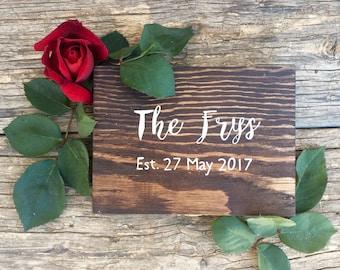 Wood Wedding Ring Box   Last Name
