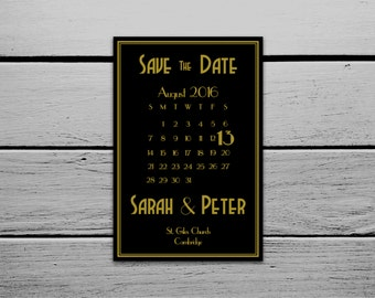 Printable 1920s Great Gatsby Wedding Save the Date Card