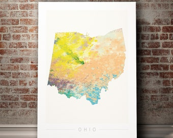 Ohio Map - State Map of Ohio - Art Print Watercolor Illustration Wall Art Home Decor Gift - NATURE PRINT