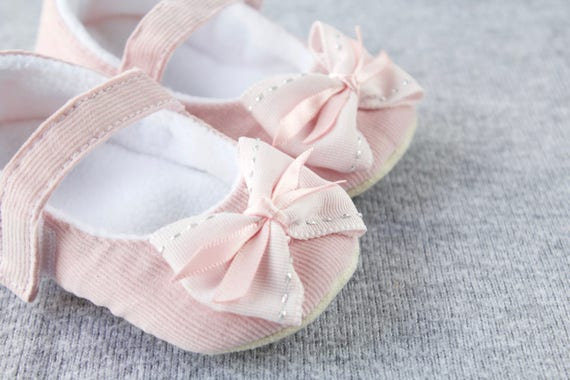 Baby pink soft cotton cord MaryJane with bow pre walker and toddler shoes
