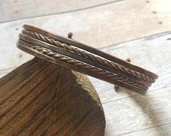 Unisex Bracelet - Wire Copper Cuff - Copper Cuff Bracelet For Him - Adjustable Wire Cuff - Girlfriend Gift Idea - Bohemian Bracelet