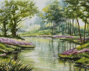 Watercolor landscape|painting gift|for|husband Impressionist painting Nature landscape watercolor|painting original art painting for bedroom