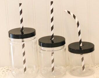 """Plastic Mason Jars, 24 Mason Jars w/ Plastic """"Spill Proof"""" lids, Plastic Mason Jar Cups, Mason Cups Tumbler, Kids Plastic Cups, Favor Jars"""