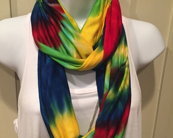 Autism Awareness Scarf, Hand dyed infinity scarf, tie dyed rayon infinity scarf, tye dye scarf, Red, blue, green yellow scarf