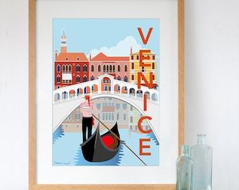 Art Print of Venice Retro Travel Poster Style