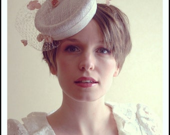 Cocktail hat Falling Sakura white and pink cherry blossom  wedding hat