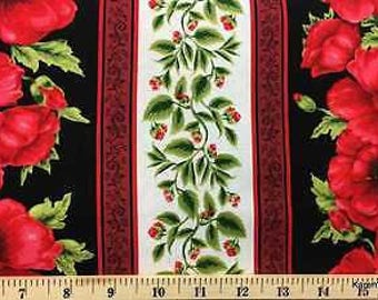 Red Poppy Stripe Fabric Poppies Floral Flowers Cream Stripes Border Cotton Fabric t2/20