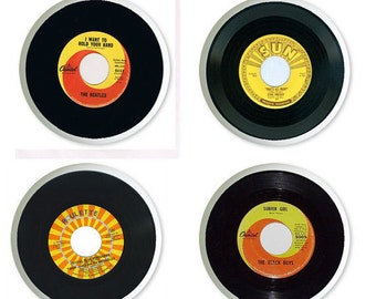 45 RPM Records Ceramic Knobs or Pulls for Furniture or Cabinets  Set of 4