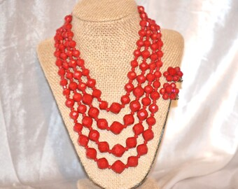 Signed Western Germany Vintage Faceted Plastics Necklace and Earrings Set