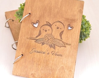 Wedding Vow Books wooden, custom personalized Vow Books, two birds Vows Books, Wedding Book, His and Her Vows, Wedding Vows books, SET of 2