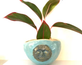One ceramic face vase: HM pottery succulent wall pocket hand made stoneware vessel