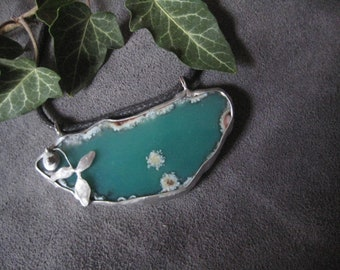 Green agate tin necklace, Agate pendant, Tiffany technique, gift for her, birthday gift
