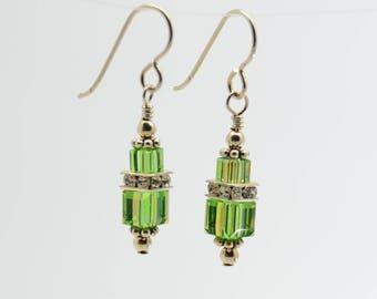 Light Green Peridot Swarovski Crystal Squaredelle Earrings // August birthstone earrings // Special occasion dangle earrings