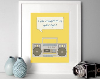 Boombox Illustration, Illustration poster, quote print, Illustrated quote, retro poster, boombox, say anything, music illustration, quotes