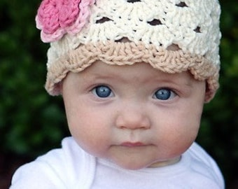Crochet Baby Hat, Baby Girl Beanie, Baby Girl, Baby Hat, Baby Newborn Hat, Off White Hat, Newborn Beanie, Newborn Prop, Baby Girl Hat