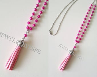 Pink Tassel Necklace, Hot Pink Statement Necklace, Fuchsia Pearl Necklace, Layered , Layering, Boho Tribal Gypsy Bohemian oil diffuser