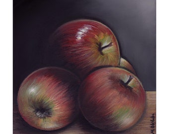 Still life apple apples fruit 6x6 painting