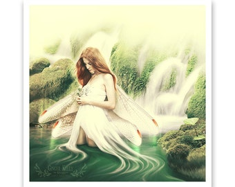 Faerie Goddess Portrait, Fantasy Art Archive Quality Giclée Print | Reflection, Unframed | Made to Order