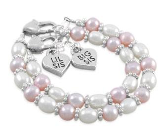 Sister Bracelets, Pink Pearl Bracelet little girls jewellery, heart charm 1st birthday gift, pastel toddler gifts, baby shower, BRENNA