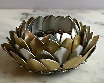 Silver and Gold Lotus Flower Candle Holder, Chainmaille Lotus Flower, Lotus Blossom, Candle Holder, Asian Decor