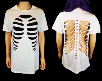 Rib Cage Cutout T Shirt Front and Back / Skeleton Cut Out Shirt