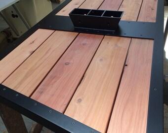 Steel & redwood table