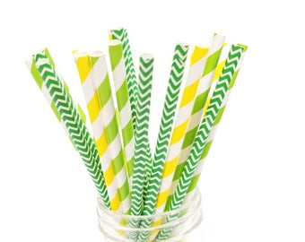 Green and Yellow Paper Straws - Set of 25 Straws - John Deere Birthday Party - First Birthday - Baylor University