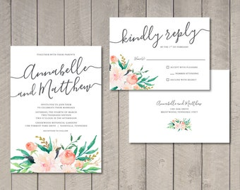 Blush Floral Wedding Invitation and RSVP Card (Printable) by Vintage Sweet
