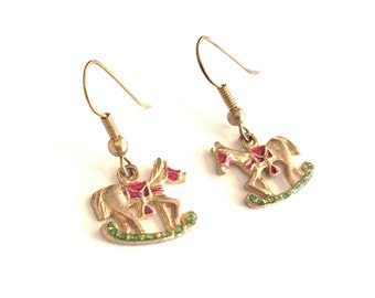 Christmas Rocking Horse Dangle Pierced Earrings Gold Tone Metal Red Green Enamel Detail Holiday Toy Whimsical Festival Traditional Vintage