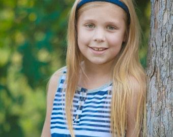 Navy Blue Headband - Dark Blue Headband - Ribbon Woven Headband - Navy - Hard Headband - Child Toddler Headband - Teenager Adult Headband