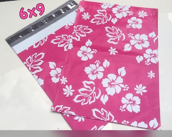 """30/35/40/45  Pink Aloha Flowered 6""""x9"""" poly mailers self sealing Poly Mailers Postal Approved Mailers! Easy Gift Wrapping"""