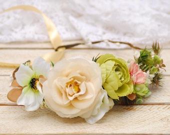 Cream flower crown Bridal flower crown Wedding flower crown Bridal headpiece Flower halo Floral crown Flower headband Bridal floral crown