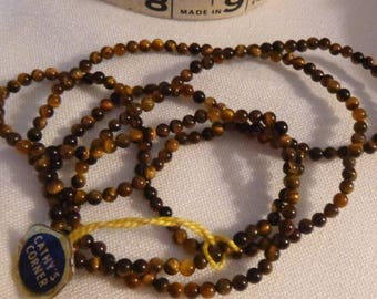 Vintage Tiger's Eye Beads, 1970s Twist Necklace, Semi Precious Bead Strand for Wearing or Beading Craft, 35 Inches Long