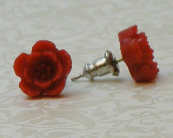 5 Petal Flower Earrings - Red