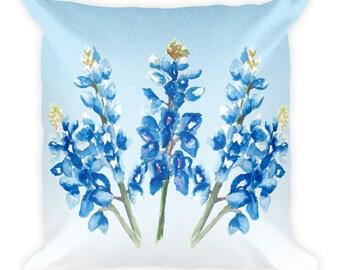 Watercolor Bluebonnets on Blue Square Pillow